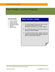 Your Family s Carbon Footprint