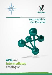 Your Health is Our Passion! APIs and Intermediates catalogue