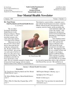 Your Mental Health Newsletter