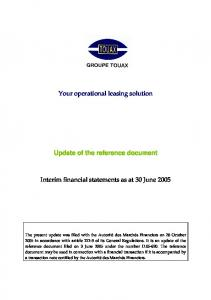 Your operational leasing solution. Update of the reference document. Interim financial statements as at 30 June 2005