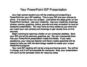 Your PowerPoint IEP Presentation