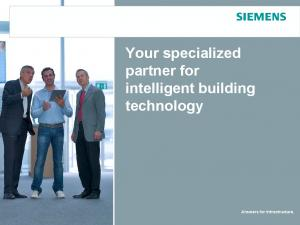 Your specialized partner for intelligent building technology. Answers for Infrastructure