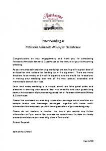 Your Wedding at Petersons Armidale Winery & Guesthouse