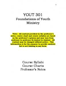YOUT 301 Foundations of Youth Ministry