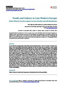 Youth and Culture in Late Modern Europe