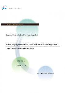 Youth Employment and NGOs: Evidence from Bangladesh