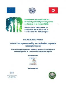 Youth Entrepreneurship as a solution to youth unemployment