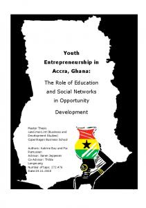 Youth Entrepreneurship in Accra, Ghana: The Role of Education and Social Networks in Opportunity. Development