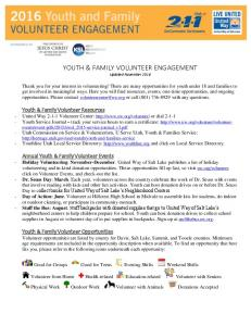 YOUTH & FAMILY VOLUNTEER ENGAGEMENT Updated November 2016