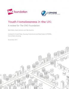Youth Homelessness in the UK: