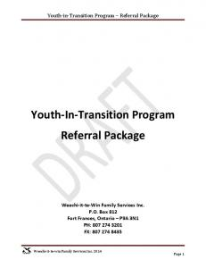 Youth-In-Transition Program Referral Package
