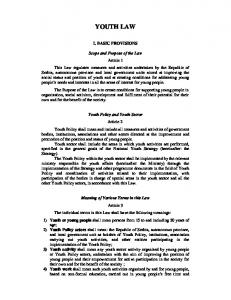 YOUTH LAW I. BASIC PROVISIONS