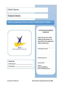Youth Leadership Victoria OSHC ENROLMENT FORM