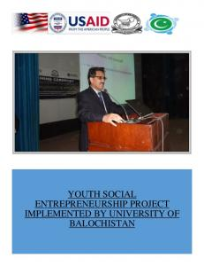 YOUTH SOCIAL ENTREPRENEURSHIP PROJECT IMPLEMENTED BY UNIVERSITY OF BALOCHISTAN