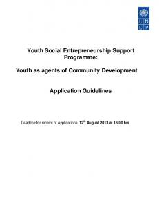 Youth Social Entrepreneurship Support Programme: Youth as agents of Community Development. Application Guidelines