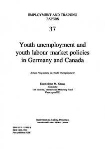 Youth unemployment and youth labour market policies in Germany and Canada