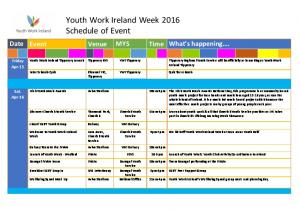 Youth Work Ireland Week 2016 Schedule of Event