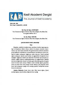 Yrd. Doç. Dr. Burcu GEZER ŞEN Fırat Üniversitesi Eğitim Fakültesi Okul Öncesi Eğitimi Ana Bilim Dalı Ar. Gör