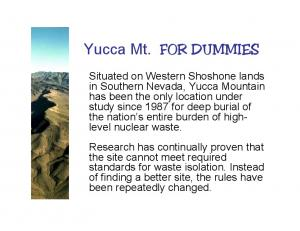 Yucca Mt. FOR DUMMIES