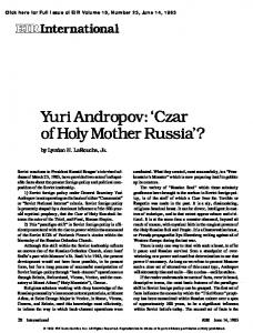 Yuri Andropov: 'Czar of Holy Mother Russia'?