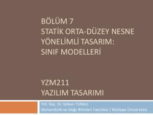 YZM211 YAZILIM TASARIMI