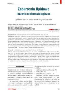 Zaburzenia lipidowe. leczenie niefarmakologiczne. Lipid disorders non-pharmacological treatment