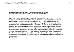 ZAGADNIENIE TRANSPORTOWE(ZT)