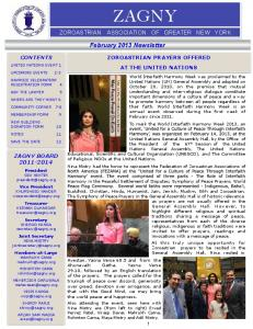 ZAGNY ASSOCIATION OF GREATER NEW YORK. February 2013 Newsletter