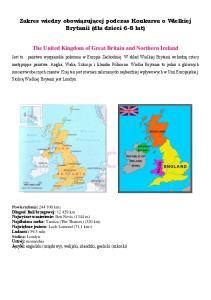 Zakres wiedzy obowiązującej podczas Konkursu o Wielkiej Brytanii (dla dzieci 6-8 lat) The United Kingdom of Great Britain and Northern Ireland