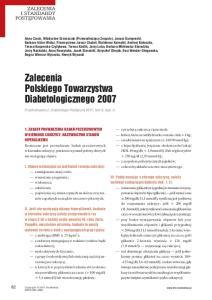Zalecenia Polskiego Towarzystwa Diabetologicznego 2007