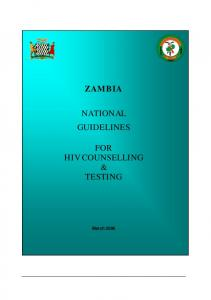 ZAMBIA NATIONAL GUIDELINES FOR HIV COUNSELLING & TESTING