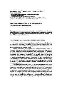 ZASTOSOWANIE HPLC W BADANIACH CHOROBY PARKINSONA