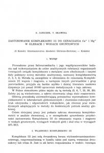 ZASTOSOWANIE KOMPLEKSONU III DO OZNACZANIA Ca