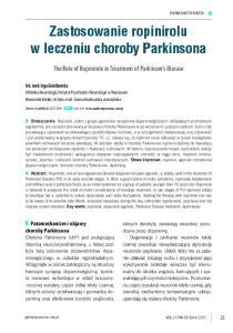 Zastosowanie ropinirolu w leczeniu choroby Parkinsona