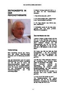 ZEITKONZEPTE IN DER PSYCHOTHERAPIE