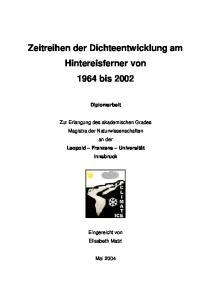 Zeitreihen der Dichteentwicklung am Hintereisferner von 1964 bis 2002