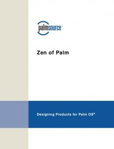 Zen of Palm Designing Products for Palm OS