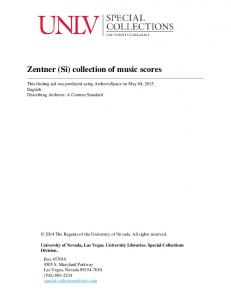 Zentner (Si) collection of music scores