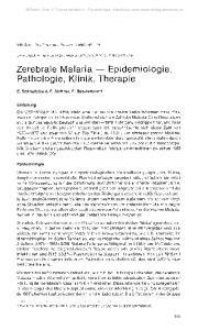 Zerebrale Malaria Epidemiologie, Pathologie, Klinik, Therapie