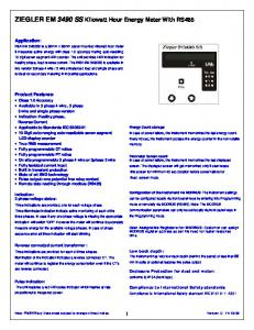ZIEGLER EM 3490 SS Kilowatt Hour Energy Meter With RS485