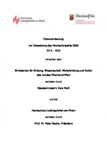Zielvereinbarung. zur Umsetzung des Hochschulpakts zwischen dem