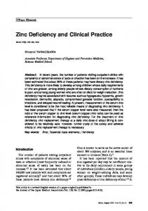 Zinc Deficiency and Clinical Practice