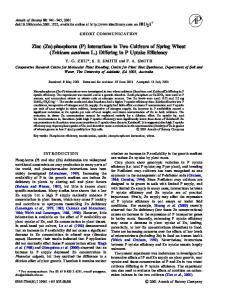 Zinc (Zn)-phosphorus (P) Interactions in Two Cultivars of Spring Wheat (Triticum aestivum L.) Di ering in P Uptake E ciency
