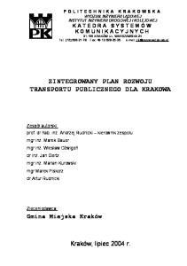 ZINTEGROWANY PLAN ROZWOJU TRANSPORTU PUBLICZNEGO DLA KRAKOWA