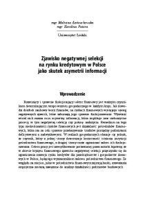 Zjawisko negatywnej selekcji na rynku kredytowym w Polsce jako skutek asymetrii informacji