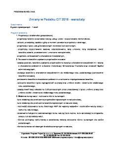 Zmiany w Podatku CIT warsztaty