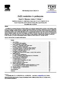 Zn(II) metabolism in prokaryotes