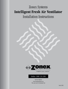 Zonex Systems Intelligent Fresh Air Ventilator Installation Instructions