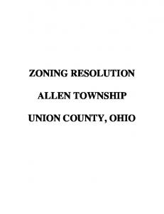ZONING RESOLUTION ALLEN TOWNSHIP UNION COUNTY, OHIO