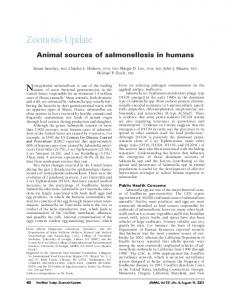 Zoonosis Update. Nontyphoidal salmonellosis is one of the leading. Animal sources of salmonellosis in humans